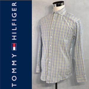 TOMMY HILFIGER Men's Spread Collar Shirt Size L